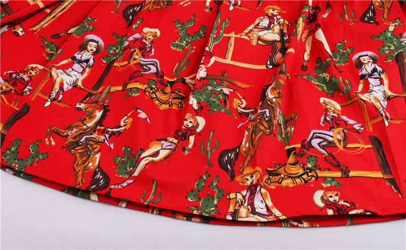 Kostlish Retro Print Flower Summer Skirts Womens High Waist Vintage Skirt Elegant A-Line Midi Women Skirt Plus Size XXL 22 (45)