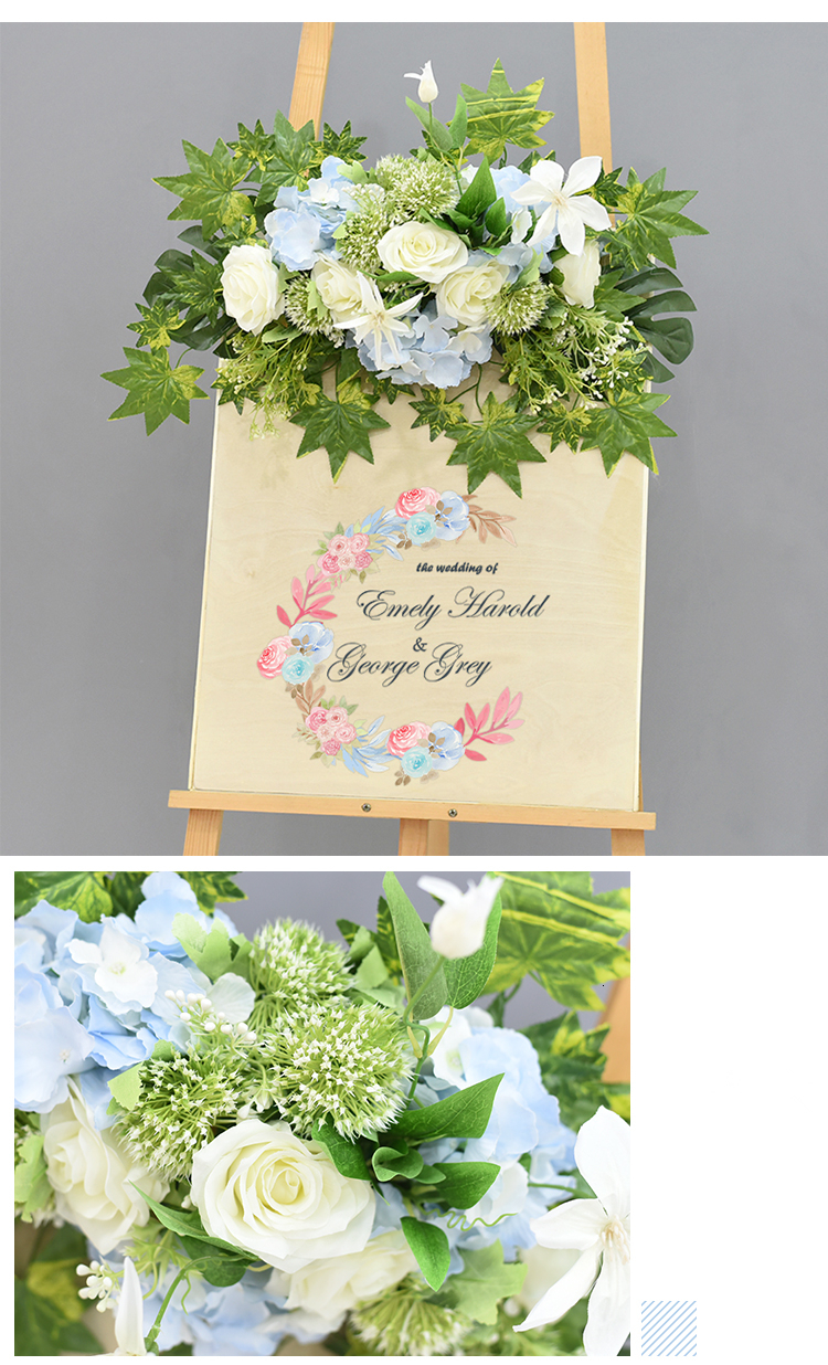 JAROWN Wedding Flower Row Welcome Sign Simulation Floral Hotel Creative Guide Decorations Photography Props Home Door Flower (22)