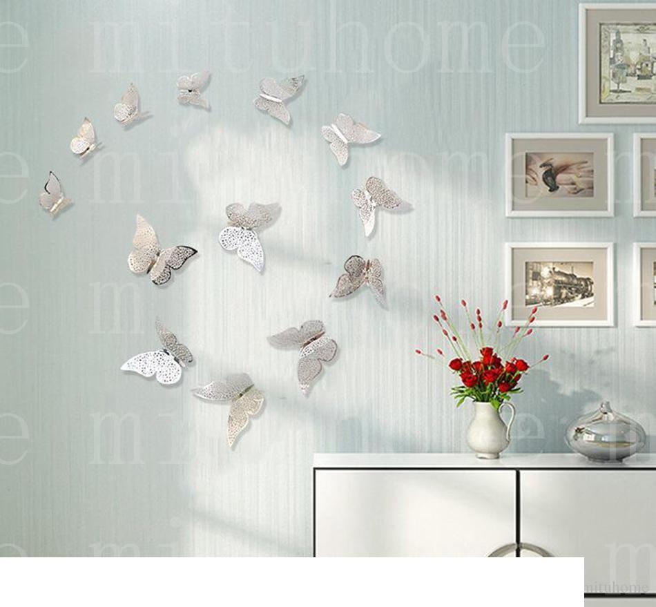 12X Autocollants Muraux Papillon 3D Décorations Murales Mur Art mur décors