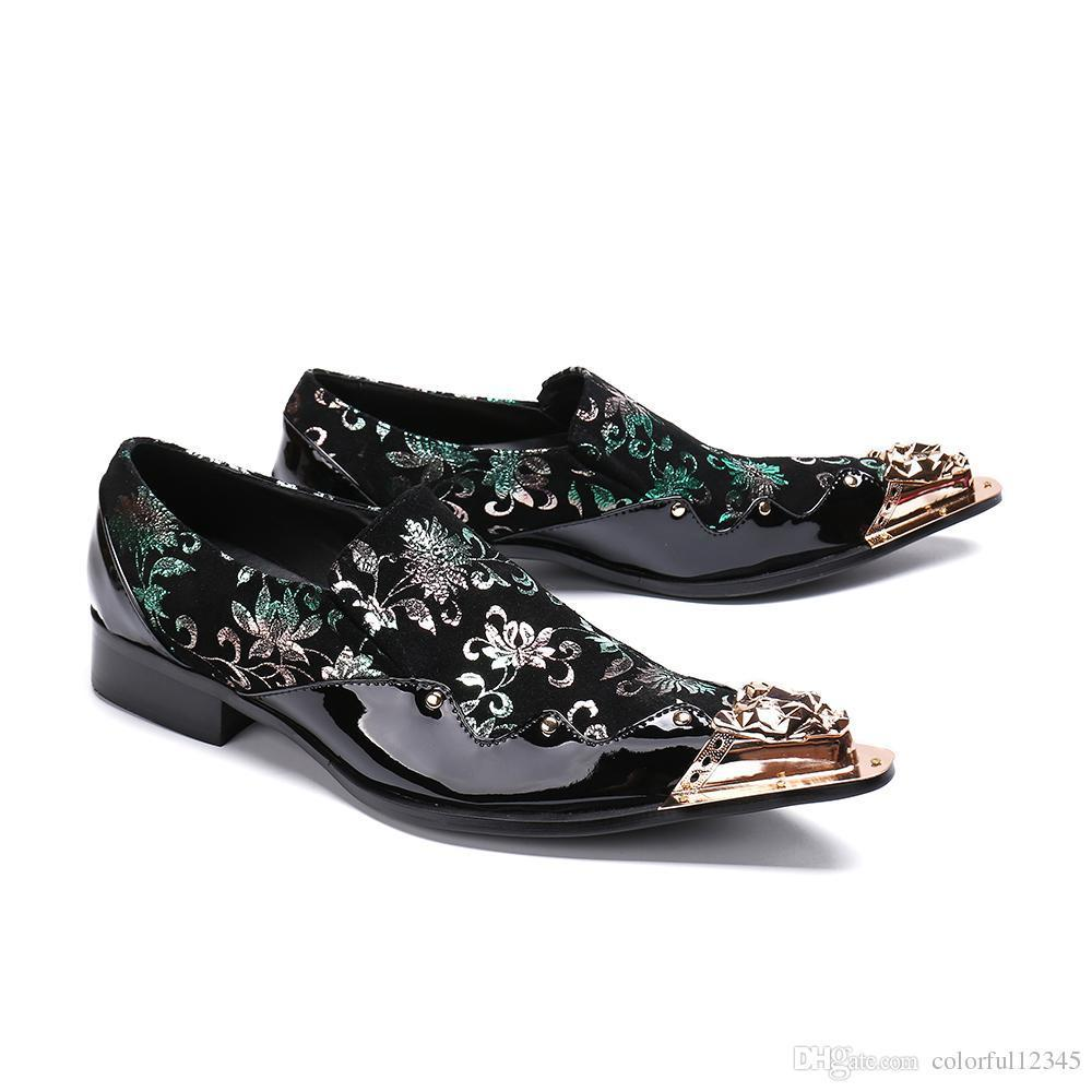 Sexy2019 Classic Masculino Elegant Floral Men Dress Gold Steel Toe Loafers Suit Office Italian Shoes