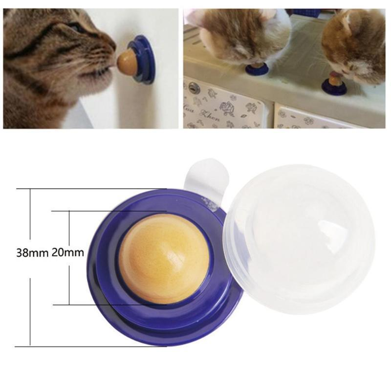Cat Treats Energy Ball With Natural Catnip Cat Snack Licking Sugar Snacks Ball With Sucker Cat Licking Ball Cats Toy Pet Supplies