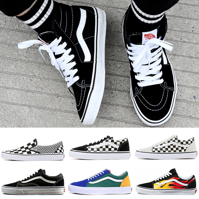 2019 New Designer Shoes Authentic Old Skool sk8 hi Skool Canvas Shoes Triple White Black YACHT CLUB Women Mens Skate Casual Sneakers 36 44