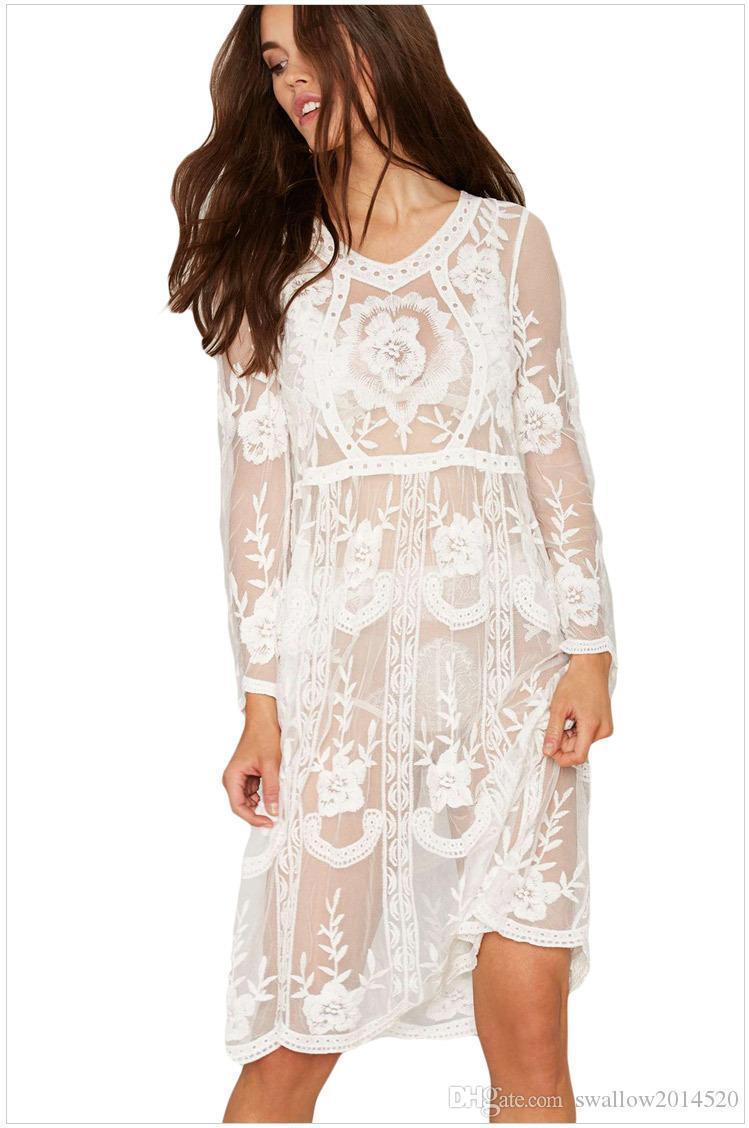 Crazy2019 White Women Beach Dress Sexy Strap Sheer Floral Lace Embroidered Crochet Summer Dresses Hippie Boho Dress Vestidos Beach Wear