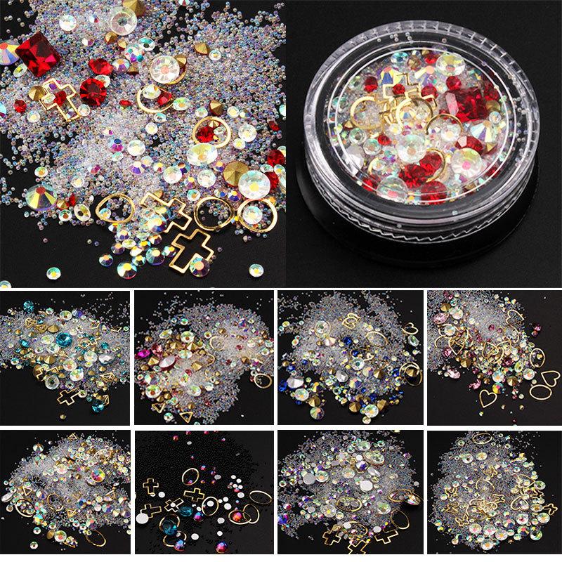 12 Caixas 4 cm Caixa Preta Ilusão Ponta Broca Pregos Fundo Plano Gemstone Círculo Elf Beads DIY Nail Art Decoração Filler Suprimentos