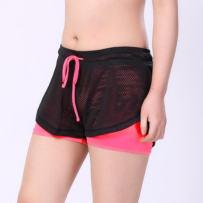 2 en 1 Tennis de tennis en cours d'exécution Yoga Shorts de sport double couche anti-taille ceinture pantalon court à séchage rapide pour la gym Fitness Workout S-XXL