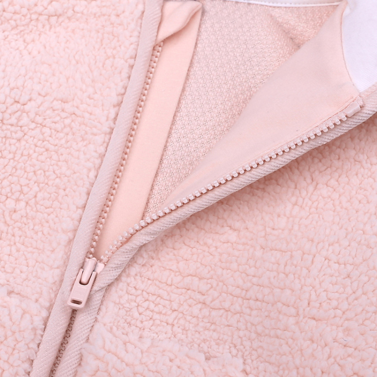 Pink hooded baby coat cute cartoon girls outfits (6)