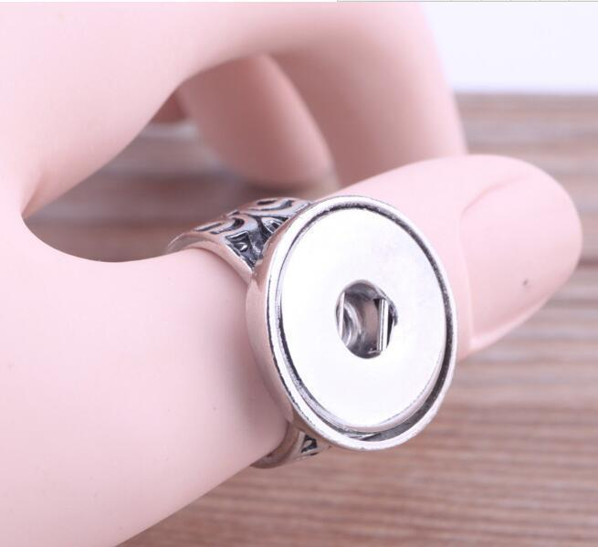 2020 adjustable snap buttons Rings Rhinestone personalized ring Silver hip-hop wedding Valentine's Day Jewelry 2 styles