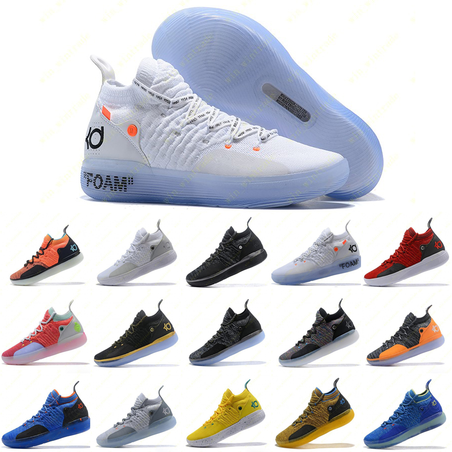 Mens Trainers New KD 11 EP White Orange Foam Pink Paranoid Oreo ICE Basketball Shoes Original Kevin Durant XI KD11 Sneakers Size 7 12