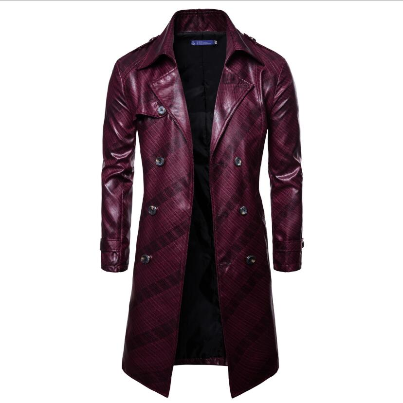 XQS Men Winter Slim Suded Leather Trench Coat Double Breasted Jacket Parka