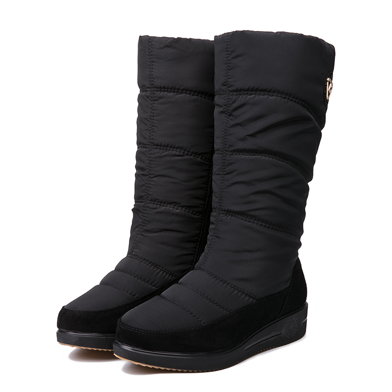 IMG_3945AIMEIGAO New Arrival Warm Fur Snow Boots Women Plush Insole Waterproof Boots Platform Heels Mid-calf Black Boots High Quality