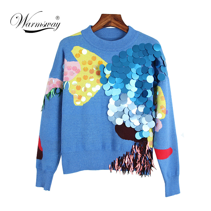 2018 Spring New Fashion Women Sweaters FullSleeve O-Neck Sequined Blue Pullovers Computer Knitted Pageant C-017