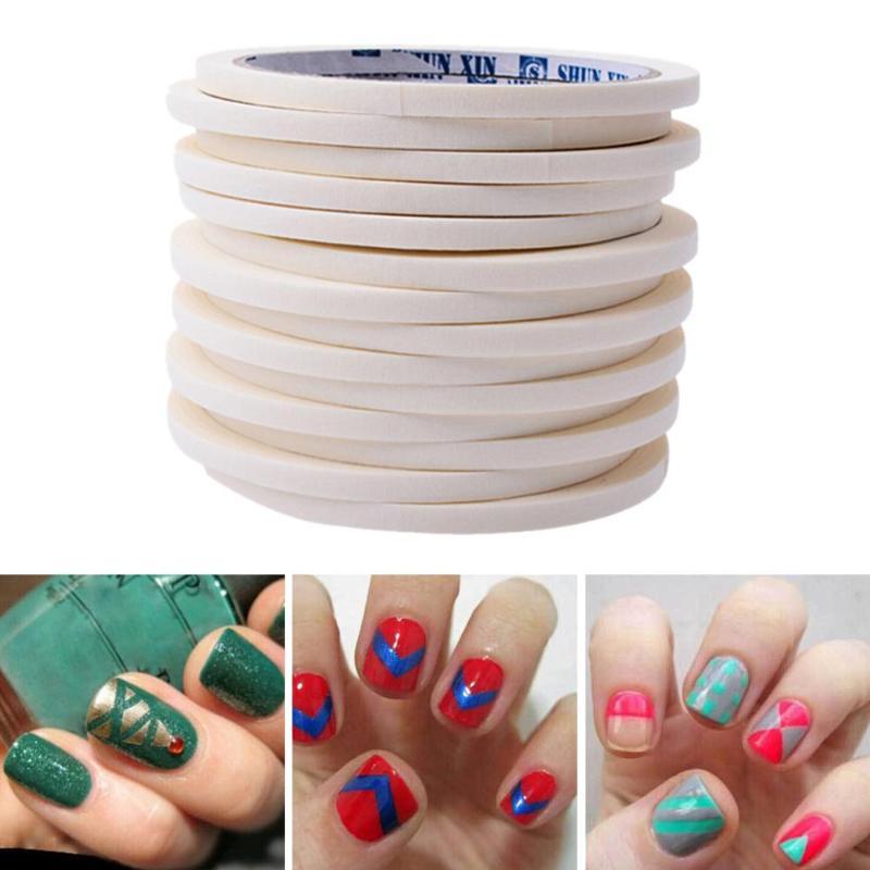 12 Pcs 0.5 cm DIY Nail Art Ruban Adhésif Conseils Rouleaux Wrap Bandes Manucure Décoration Décor Autocollant Stencil UV Gel Vernis À Ongles