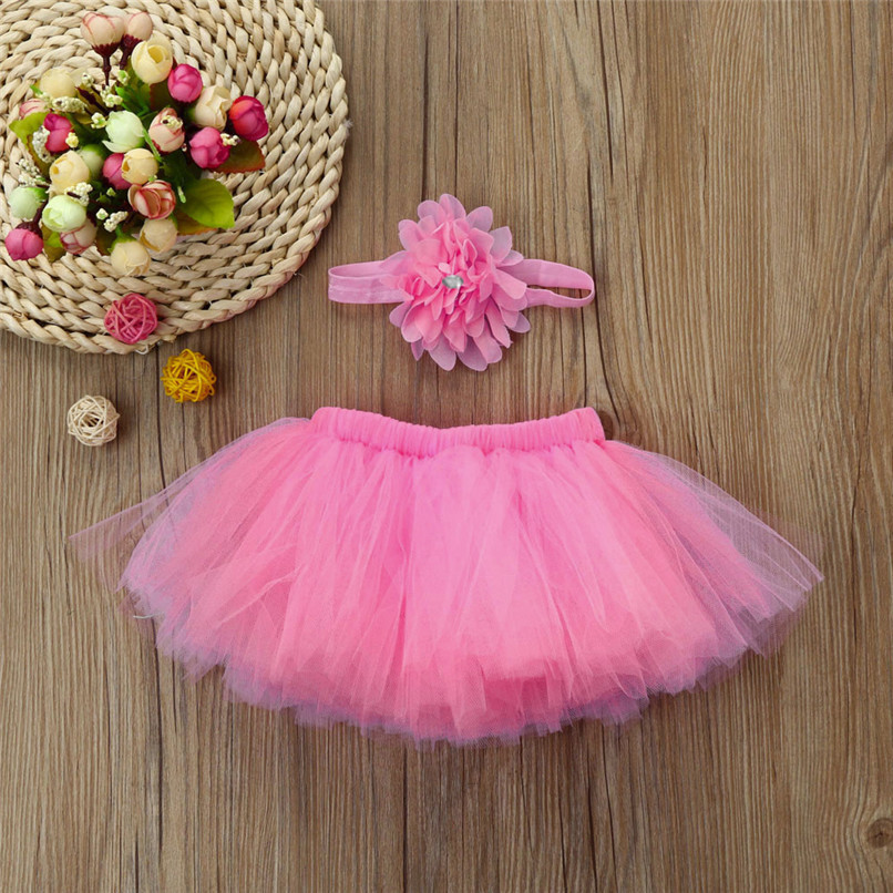 5 Color Summer Girls Skirt Toddler Baby Newborn Solid Lace Skirt+Floral Headband For Photo Prop Suit For 0-4M M8Y08 (4)