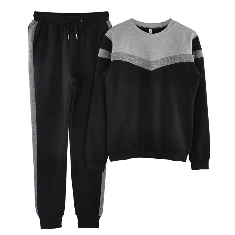 Mvgirlru Abiti eleganti da donna Primavera Sport Suit Colorblock Cut Pullover Top e pantaloni 2 pezzi Abiti femminili Tute MX190809