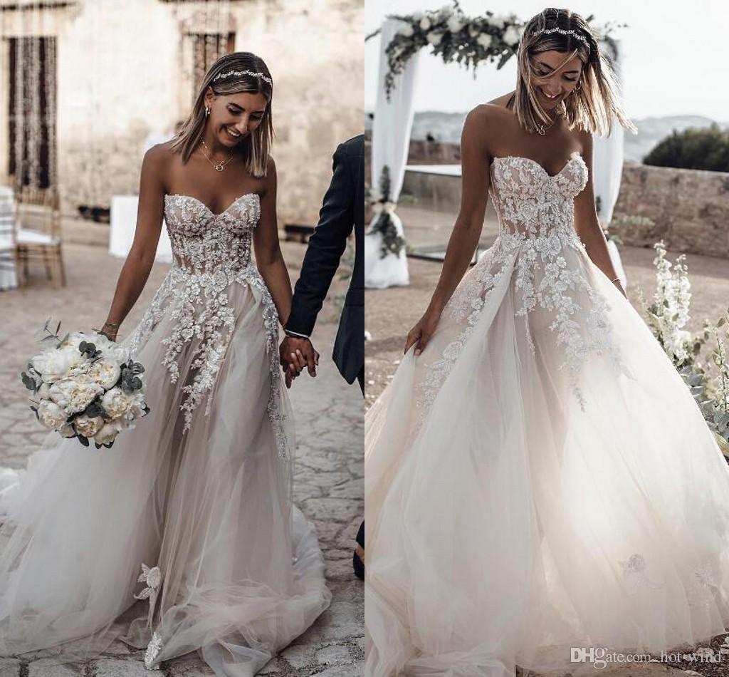 Boho Sommer-Strand-Hochzeit Kleid-Schatz SpitzeAppliques Strand  Brautkleider für Hochzeiten Preiswertes nach Maß Brautkleider