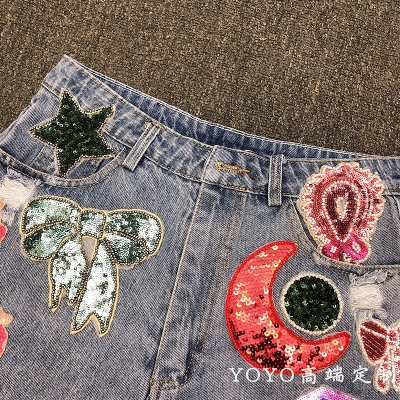 Yoyo Heavy Industry Sequins Book Bead Rhinestone Hundred And Up Cowboy Sexy Hair Edge Shorts Half Skirt Female