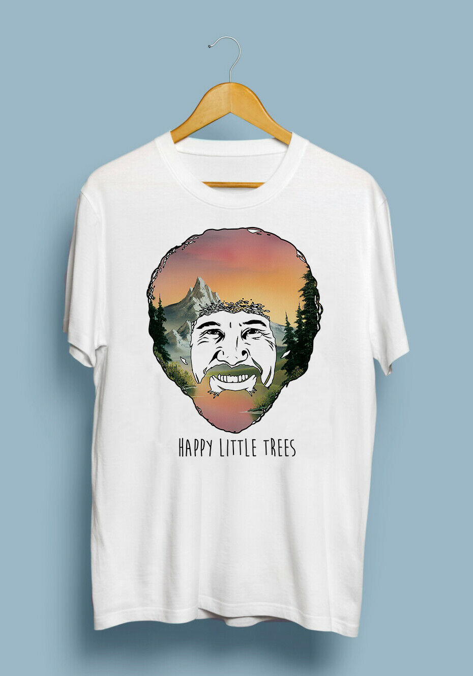 Bob Ross Happy Little Trees Portrait Funny Painting T Shirt