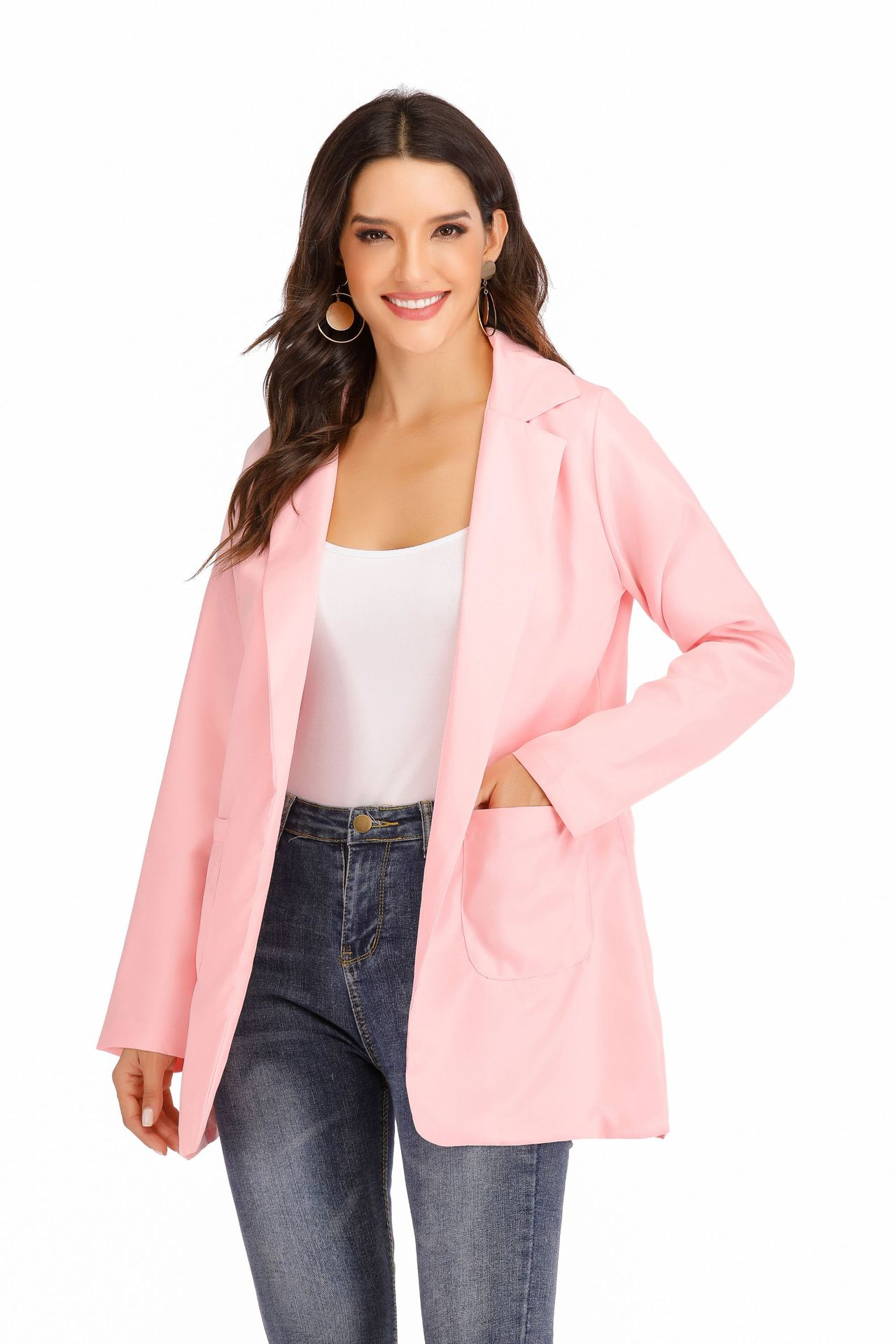 Formal Plain Blazer Elegant Coat