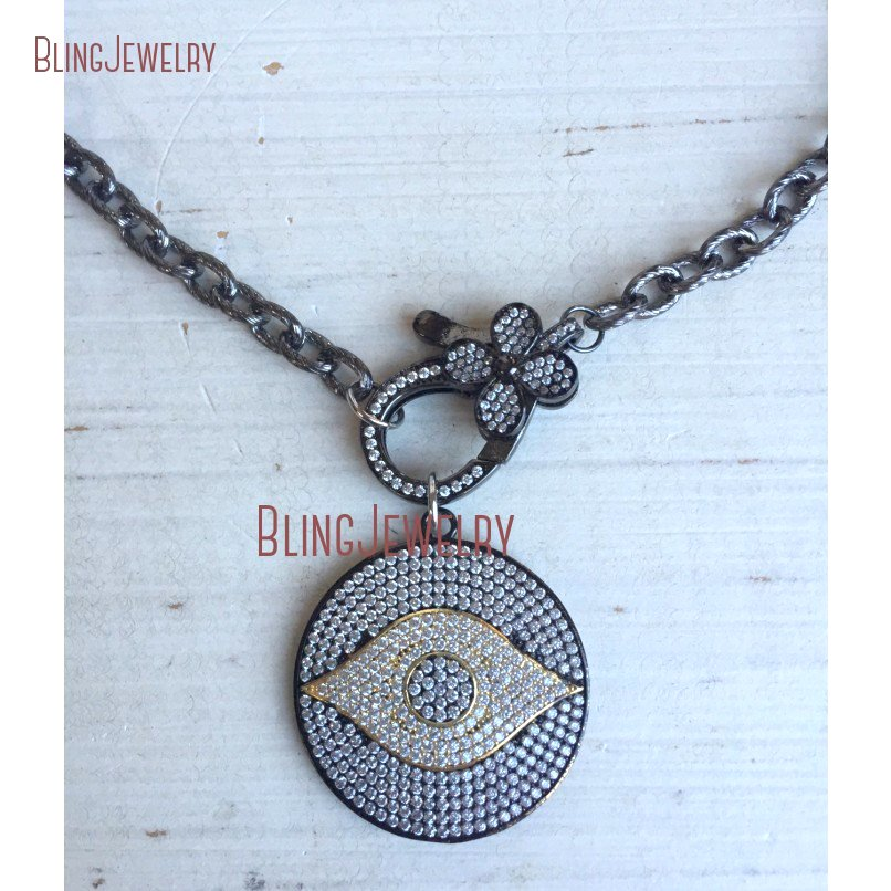 20181010-NM18382-gunmetal and gold pave crystal evil eye disc pendant with pave crystal flower clasp on gunmetal chain necklace_2