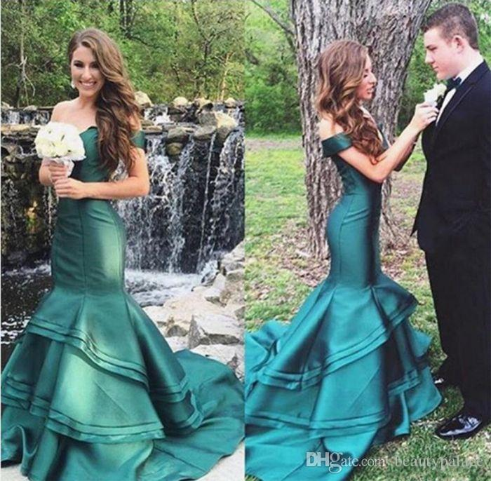 Saudi Arabic Royal Blue Mermaid 2017 Prom Dresses Dubai Off Shoulders Formal Evening Party Dress Tiers Ruffles Reception Evening Dresses
