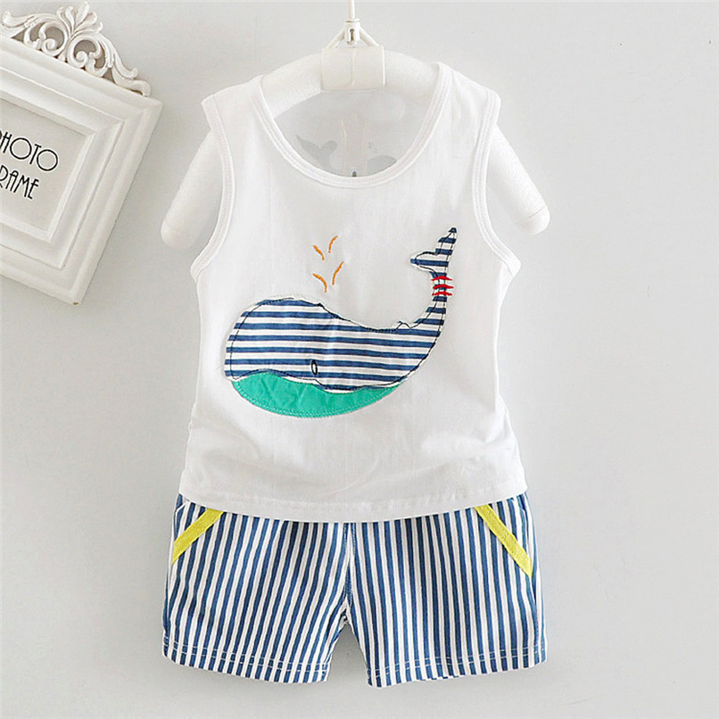 2PCS Baby Sets Newborn Baby Boys Girls Sleeveless Cartoon Whale Print Top+Striped Shorts Sets Clothes Suit For 6-24M M8Y07 (9)