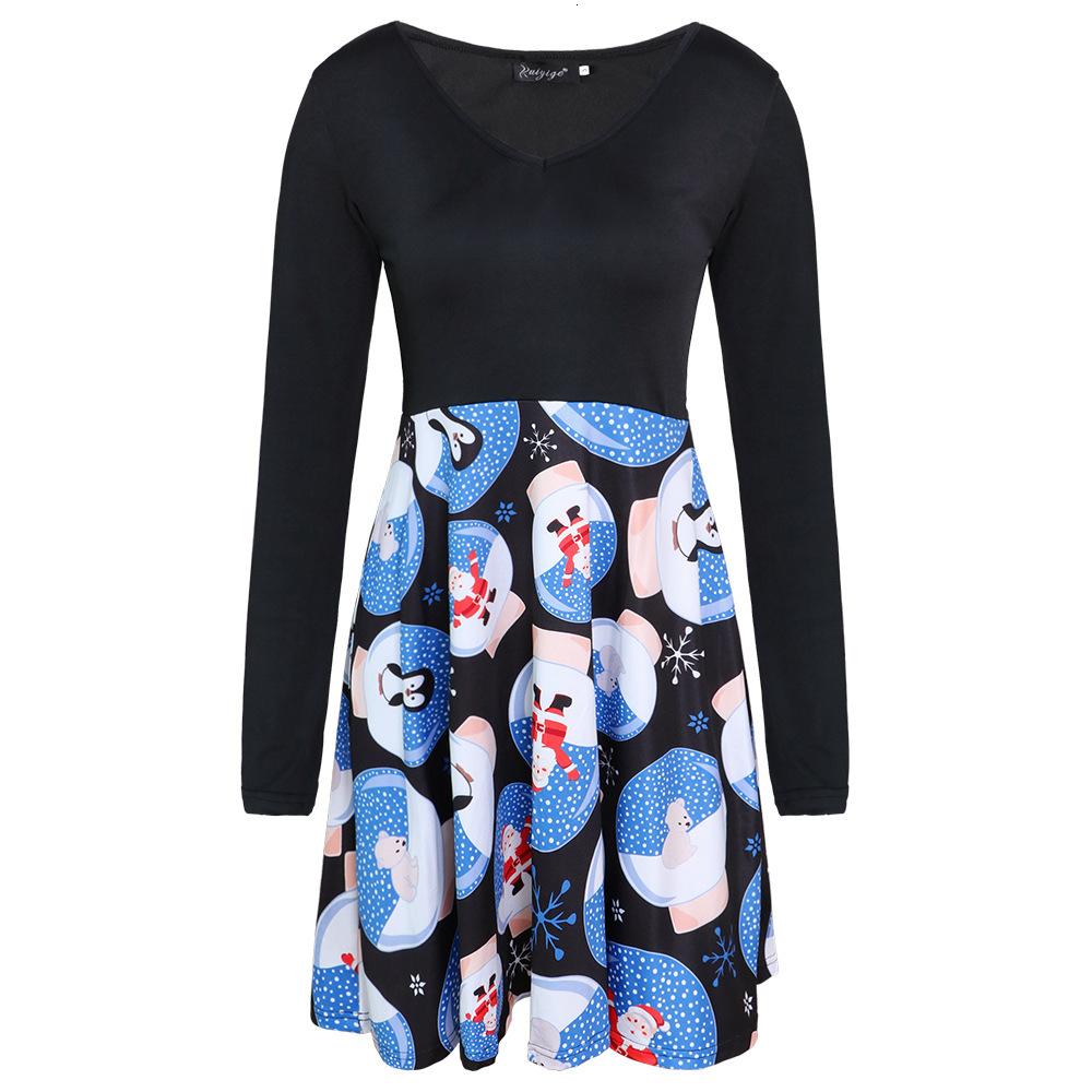 Moda Tasarımcısı Bayanlar Etek Sonbahar Yeni Uzun Kollu V Yaka Baskı Elbise Bayanlar Moda Rahat Etek rahat