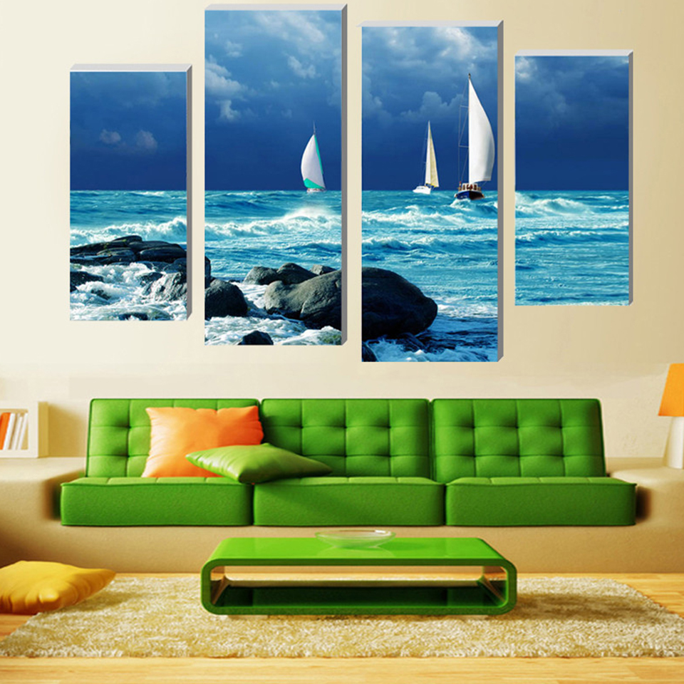 Print Painting Modular Poster Popular Canvas 4 Panels Boat Blue Sea Wall Picture Framework Art For Living Room Home Decor Artwork