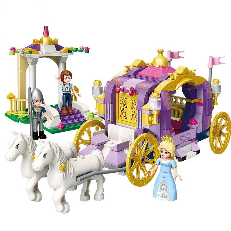 Girls Princess Castle Violet Royal Carriag Car Building Blocks Sets Friends Model Bricks Kids Toys Gift MX190730
