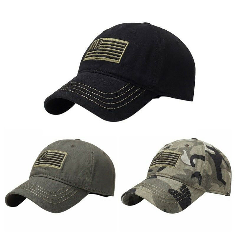 CAMO TACTICAL MILITARY FORCES OPERATOR AMERICA DETACHABLE PATCH USA FLAG CAP HAT