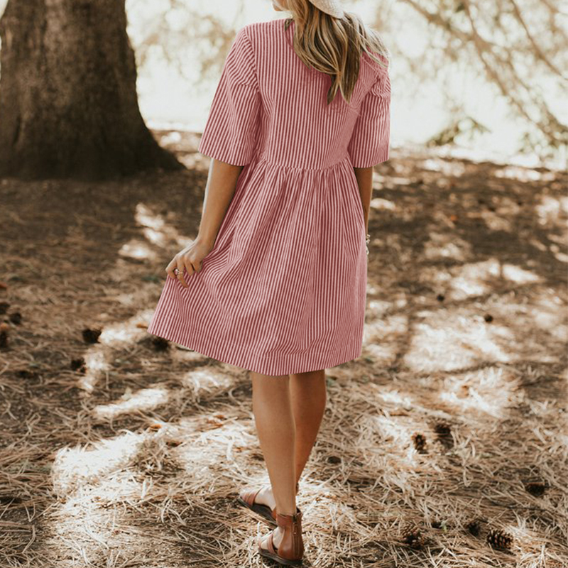 Zanzea Women Summer Elegant O Neck Half Sleeve Pockets Loose Party Vestido Casual Baggy Work Striped Dress Sundress Oversized T19052909