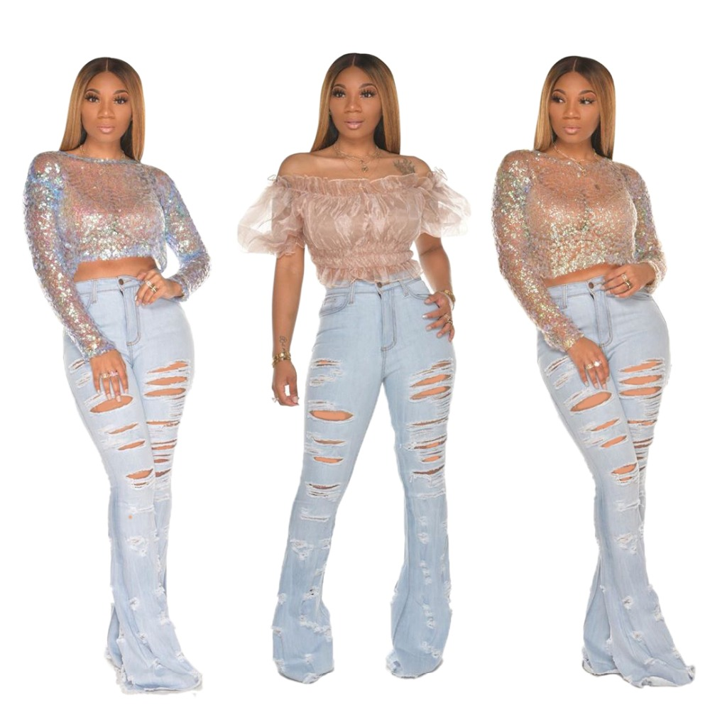 New Design fashion women Blue Color Jean Boot Cut Pants Casual Street Lady Long Denim Pants Sexy Club Wide Leg Jeans (25)