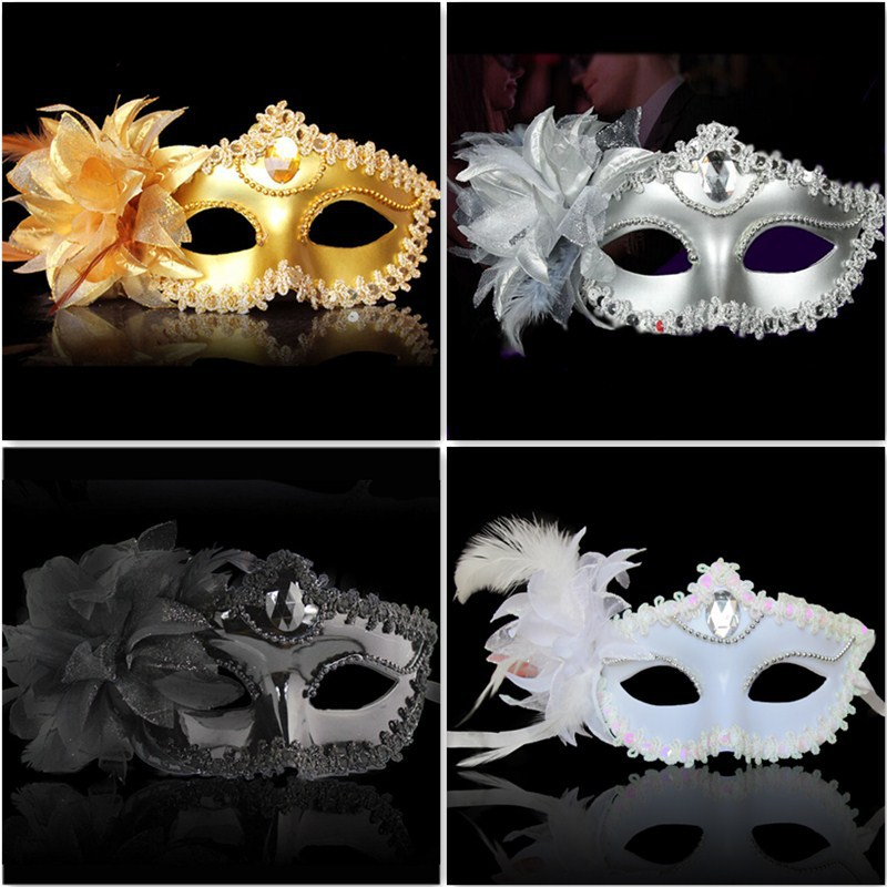 White mouse mask lace and gems Venetian Masquerade Party Ball