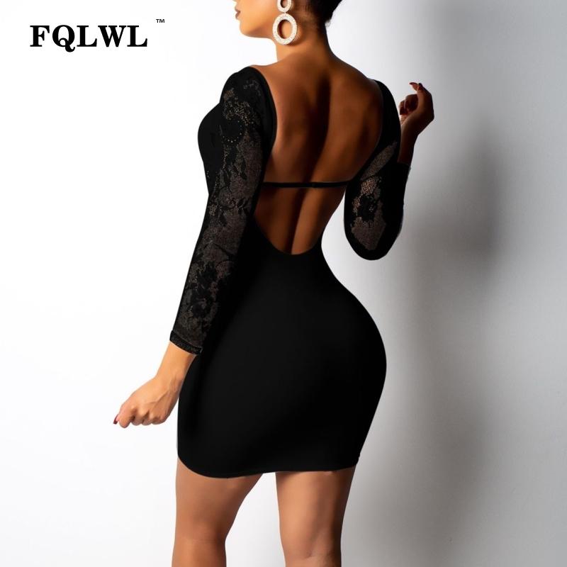 wholesale Off Shoulder Black Lace Dress Women See Through Long Sleeve Bodycon Mini Dress Mesh White Sexy Club Short Party Dresses