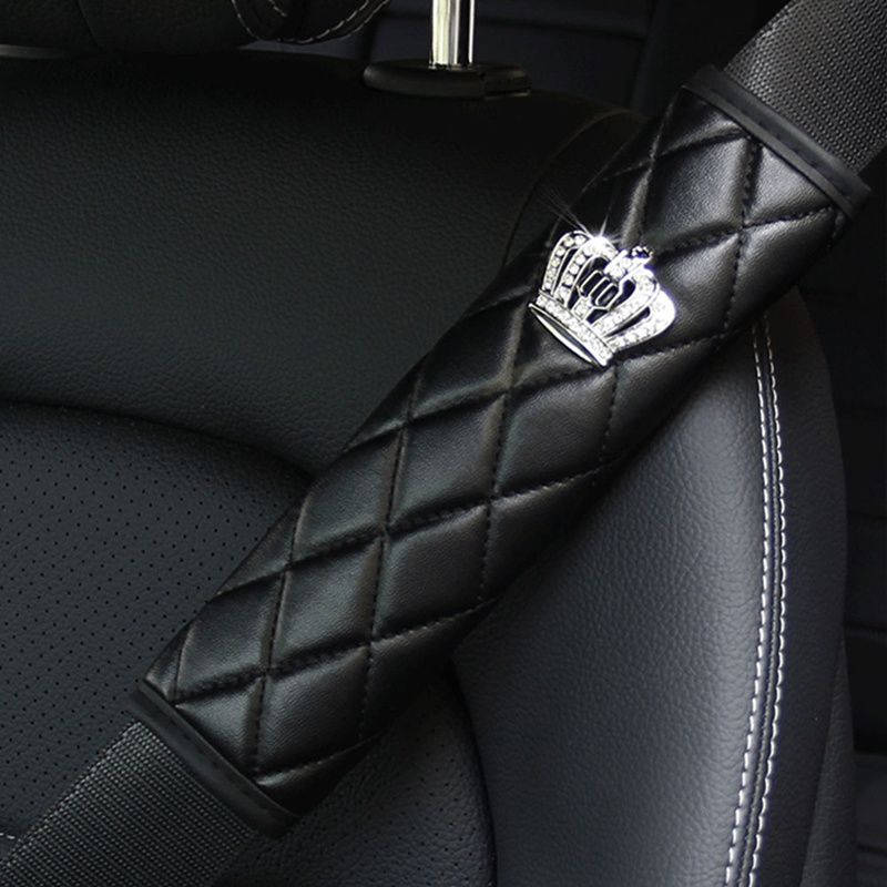 Crown Car Accessories for Women Car Leather Seat Belt Cover Rhinestone Shoulder Pad Crown Crystal Diamond Auto HandBrake Gear Covers Universal Fit All Car