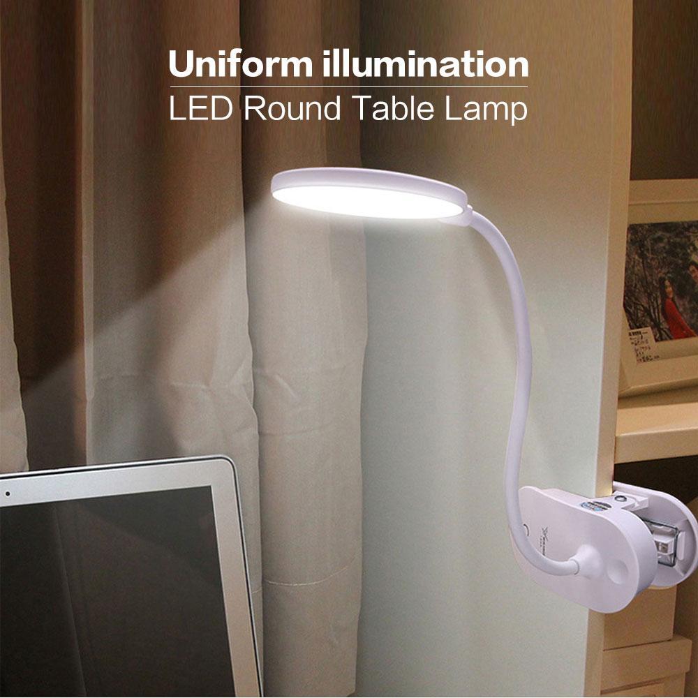 Luce di riempimento tonda dimmerabile touch con ricarica USB con lampada da tavolo a clip Lampada da tavolo bianca la protezione degli occhi dei bambini