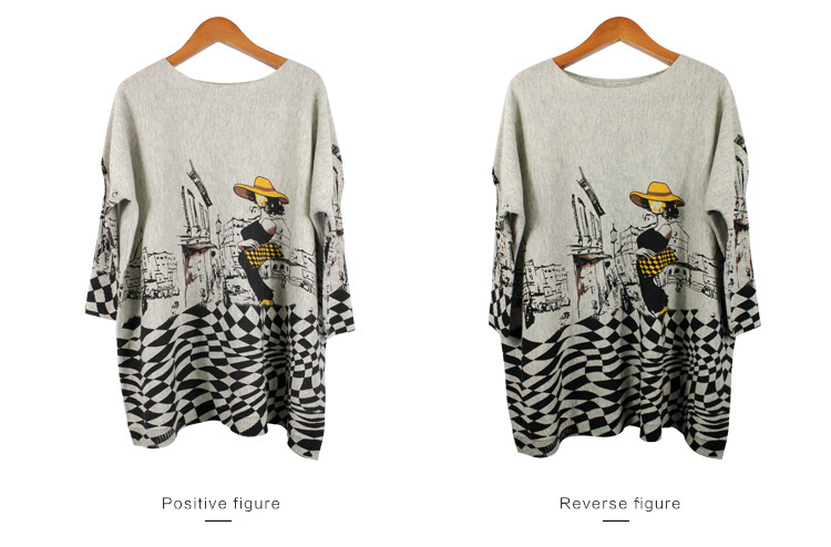 Autumn new European and American women fat mm large size sweater loose was large size printed pullover women (16)