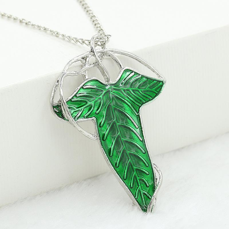 couleur: vert Le Seigneur des Anneaux Pendentif Broche Broche Elfique Feuille Verte avec Collier