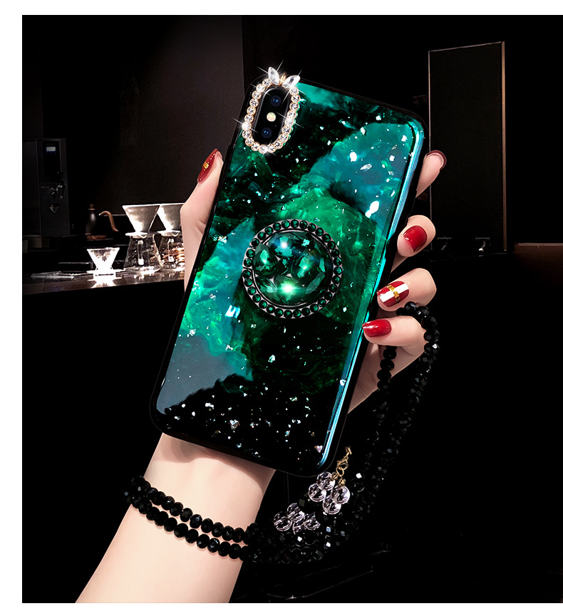 Rhinestone With Finger Ring Plush Chain Phone cover Case For iPhone 7 6 S plus 8 X XS XR MAX Strap Girls Women Kickstand Gift (12)