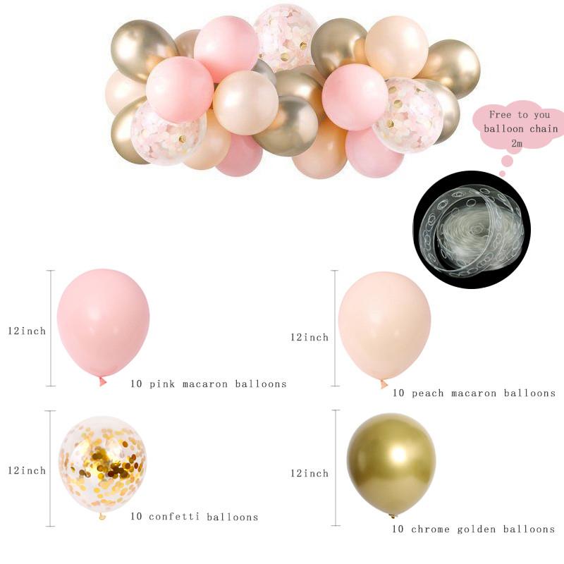 Set 1 Pink Peach Gold Balloon Cloud (5)