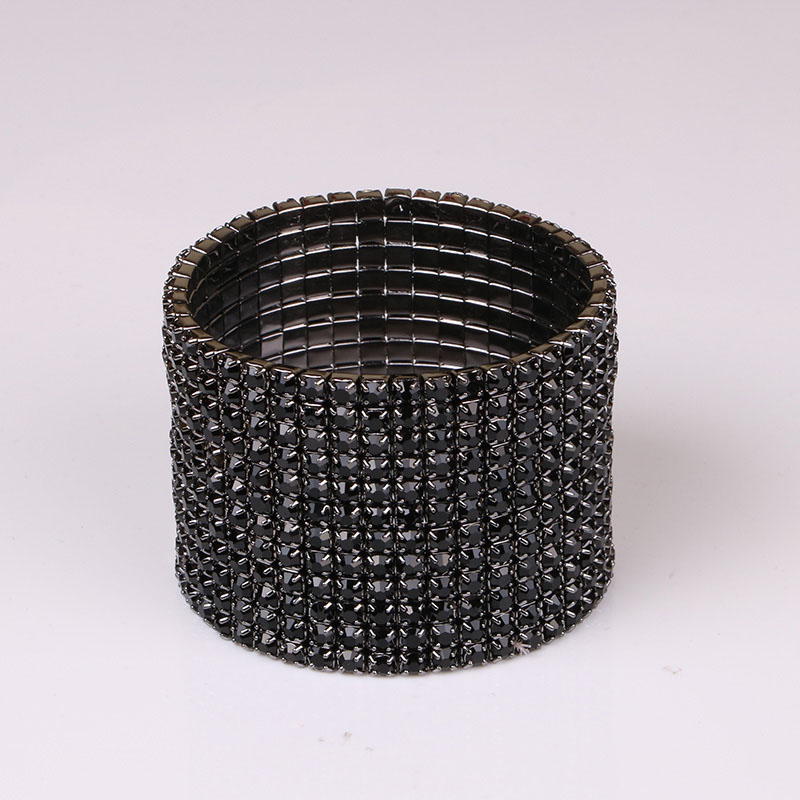TDQUEEN 12 Rows Black Crystal Rhinestone Bangle Bracelet Black Gun Plated Metal Wide Indian Bangles for Women (6)