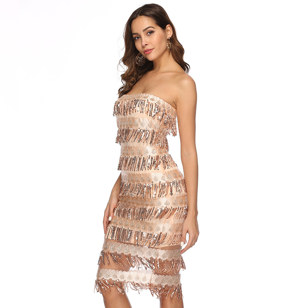 Designer new explosion models Europe and the United States foreign trade women's sexy tube top halter sequin dress