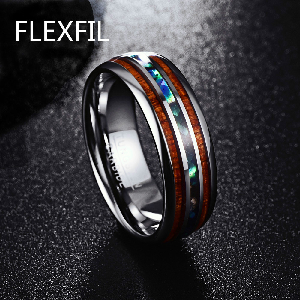 Shell Inlay Ring en acier inoxydable Bords Bande Bague pour Hommes Mariage US7-11