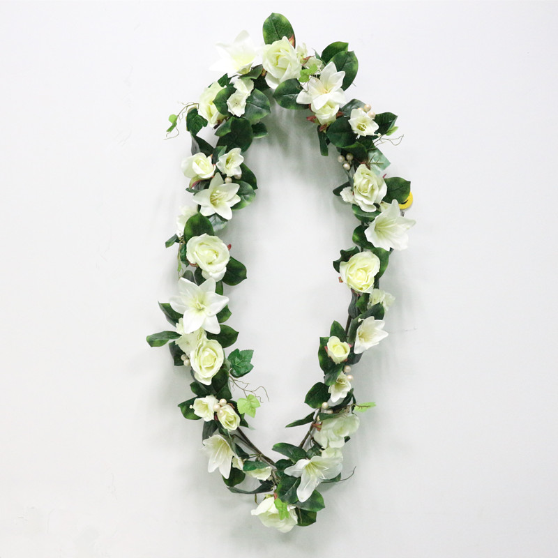 DIY Artificial Rose Lily Plants Green Leaves Simulation Cane Adornment Flowers Garland Home Wall Party Decor Vines Lintel Flower (16)