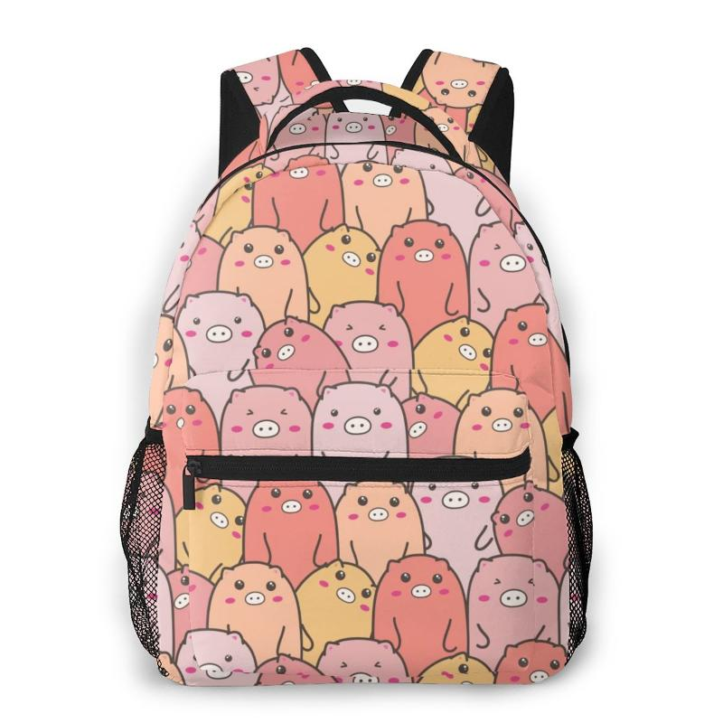 Leather Christmas Pig And Trees Green Backpack Daypack Bag Women