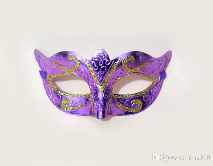 New Party Mask With Gold Glitter Mask Venetian Unisex Sparkle Masquerade Venetian Mask Mardi Gras Costume masks I053