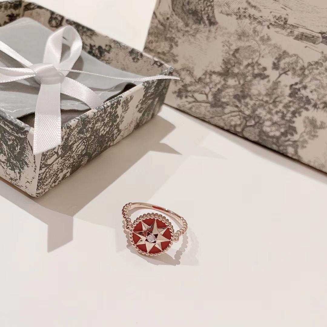 gioielli di alta qualità 925 anelli in argento sterling in oro rosa 14K anello rosso bussola Oro Argento donne regalo dei monili anelli Lover AI-3