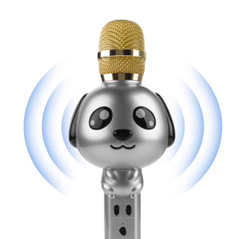 Compre Kt09 Inalámbrico Bluetooth Niños Micrófono De Mano Karaoke Ktv Inicio Micrófono Altavoz Reproductor De Música Perro De Dibujos Animados