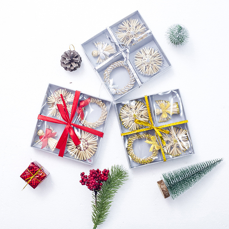 56 Pieces Christmas Tree Hanging Decorations Ornament Home Natural Straw Silver