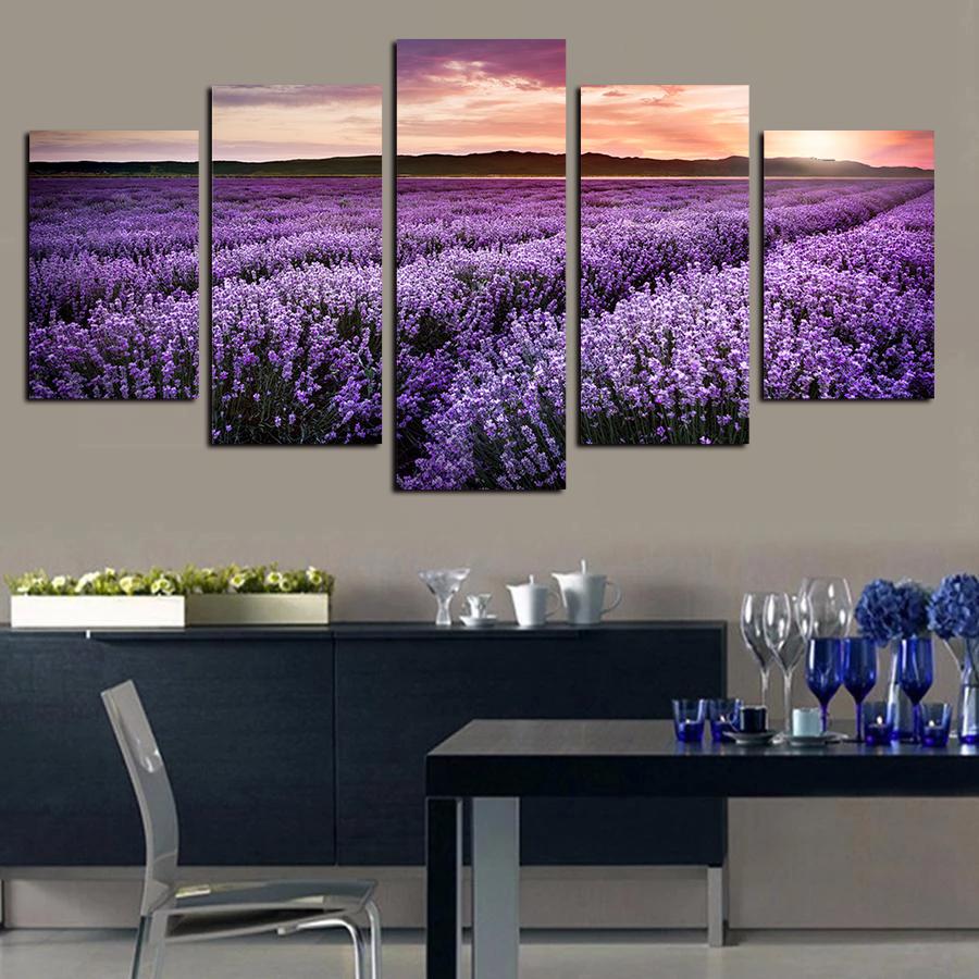 Fleur Pour Decoration Salon 5 piece canvas wall art peintures giclée coucher de soleil pourpre lavande  champ fleurs paysage affiche pour living room home decor