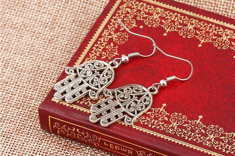 Vintage Silver Earrings Hamsa Hand Hollow Hand of Fatima Dangle Fish Ear Hook Earrings Punk Women Party Eardrop